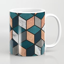 Copper, Marble and Concrete Cubes with Blue Coffee Mug