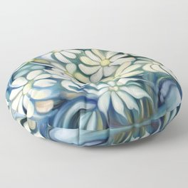 """""""Retro Vintage Bouquet of White and Blue Flowers"""" Floor Pillow"""