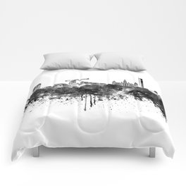 Glasgow skyline in black watercolor Comforters