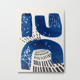 Fun Mid Century Modern Abstract Minimalist Vintage Navy Blue Brush Strokes Minimal Shapes Metal Print