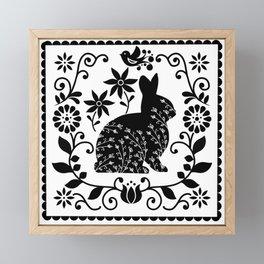 Woodland Folk Black And White Bunny Tile Framed Mini Art Print