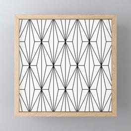 Black White Geometric Pattern Illustration Framed Mini Art Print