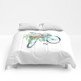 Vintage Aquamarine Bicycle with Flower Basket Comforters
