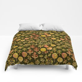 Watercolor autumn forest in doodle style Comforters