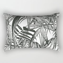 Black and White Vintage Palm Leaf Pattern Rectangular Pillow
