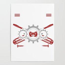 Mechanic Father Machines Repair Vehicles Tools Mechanical Engineering Auto Car Repairing Gift Poster