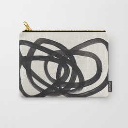 Mid Century Modern Minimalist Abstract Art Brush Strokes Black & White Ink Art Spiral Circles Carry-All Pouch