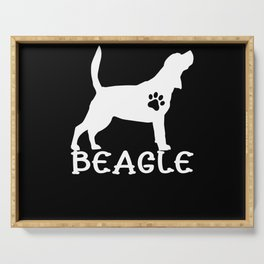 Beagle I Dog Love Dog Motif Gift Serving Tray