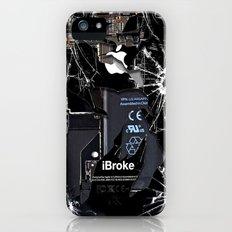 Broken, rupture, damaged, cracked black apple iPhone 4 5 5s 5c, ipad, pillow case and tshirt Slim Case iPhone (5, 5s)