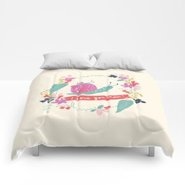 Mom I love you! Mommy and baby snail with floral Comforters