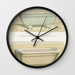 Vintage  of imperial porcelain baths published in 1888 by JL Mott Iron Works Wall Clock