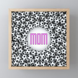 Soccer Mom / 3D render of hundreds of soccer balls framing Mom text Framed Mini Art Print