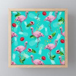 Tropical fruits among flamingos Framed Mini Art Print