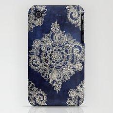 Cream Floral Moroccan Pattern on Deep Indigo Ink Slim Case iPhone (3g, 3gs)