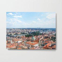 Prague Cityscape | Red Rooftop Old World Bridge Majestic European City Landscape Photograph Metal Print