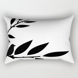 Bird and Branches Silhouette Rectangular Pillow
