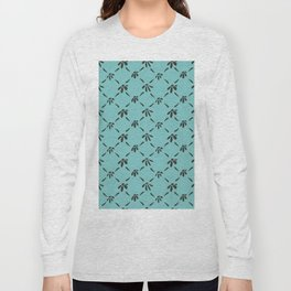 Floral Geometric Pattern Chocolate Brown Aqua Sky Long Sleeve T-shirt
