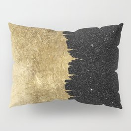 Faux Gold and Black Starry Night Brushstrokes Pillow Sham