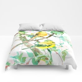 American Goldfinch and Apple Blossom Comforters
