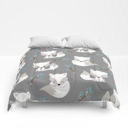 ARCTIC FOXES ON GREY Comforters