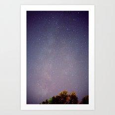 Meteors near the Milky Way Art Print