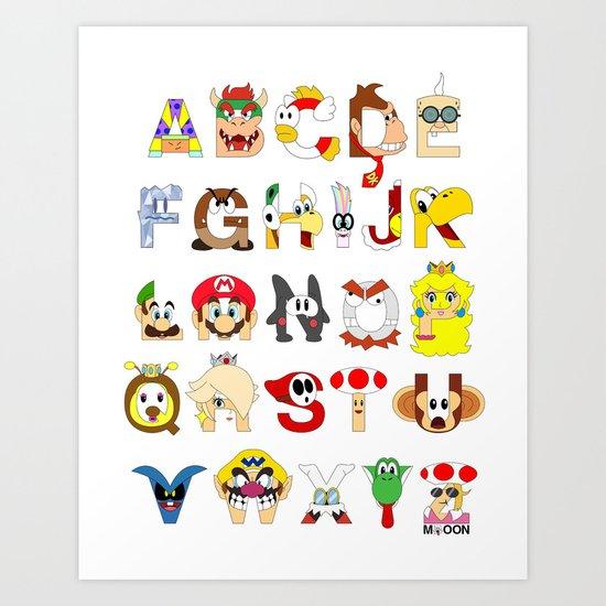 Super Mario Alphabet Art Print