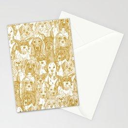dogs aplenty gold white Stationery Cards