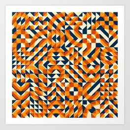Orange Navy Color Overlay Irregular Geometric Blocks Square Quilt Pattern Art Print