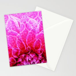 Mosaic Dahlia pattern structure pink Stationery Cards