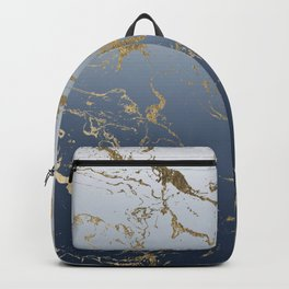 Modern grey navy blue ombre gold marble pattern Backpack