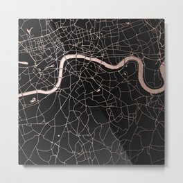 London Black on Rosegold Street Map Metal Print