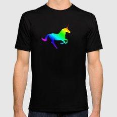 Rainbow Unicorn Mens Fitted Tee MEDIUM Black