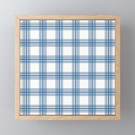 Farmhouse Plaid in Blue on White Framed Mini Art Print