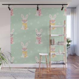 White rabbit Christmas pattern 001 Wall Mural