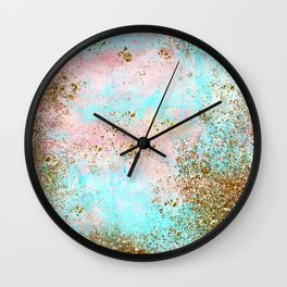 Pink and Gold Mermaid Sea Foam Glitter Wall Clock