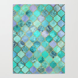 Cool Jade & Icy Mint Decorative Moroccan Tile Pattern Poster