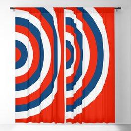 Retro Circles Pop Art - Red White & Blue Blackout Curtain