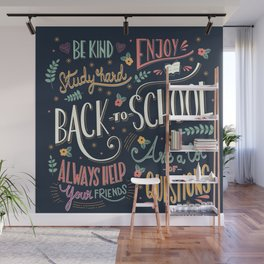 Back to school colorful typography drawing on blackboard with motivational messages, hand lettering Wall Mural