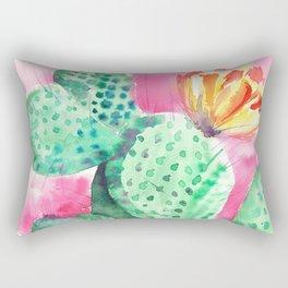 Blooming opuntia cactus Rectangular Pillow