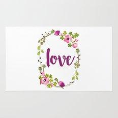 Floral Wreath Watercolor - Love - by Sarah Jane Design Rug