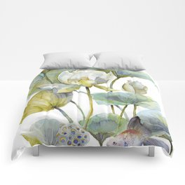 Lotus Plant and Fish Zen Design Watercolor Muted Pallet Botanical Art Comforters