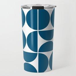 Mid Century Modern Geometric 04 Blue Travel Mug