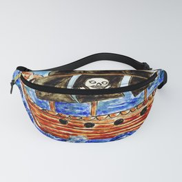 Pirate wooden sailboat and blue sea with rocks Fanny Pack