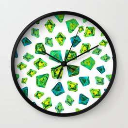 Green beautiful hand drawn gems. Wall Clock