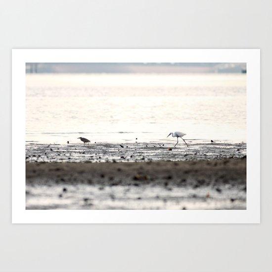 Scroll on the beach. Art Print