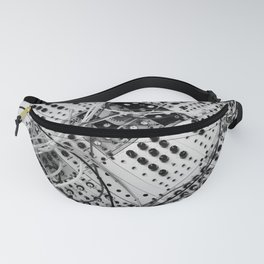 analog synthesizer  - diagonal black and white illustration Fanny Pack