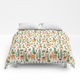 watercolor alpaca clique with cacti and succulents Comforters