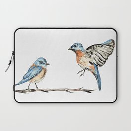 Bluebirds watercolour and ink Laptop Sleeve