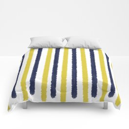 Gold & Navy Blue Stripes Comforters