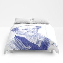 Charles Dickens Portrait In Blue Bic Ink Comforters